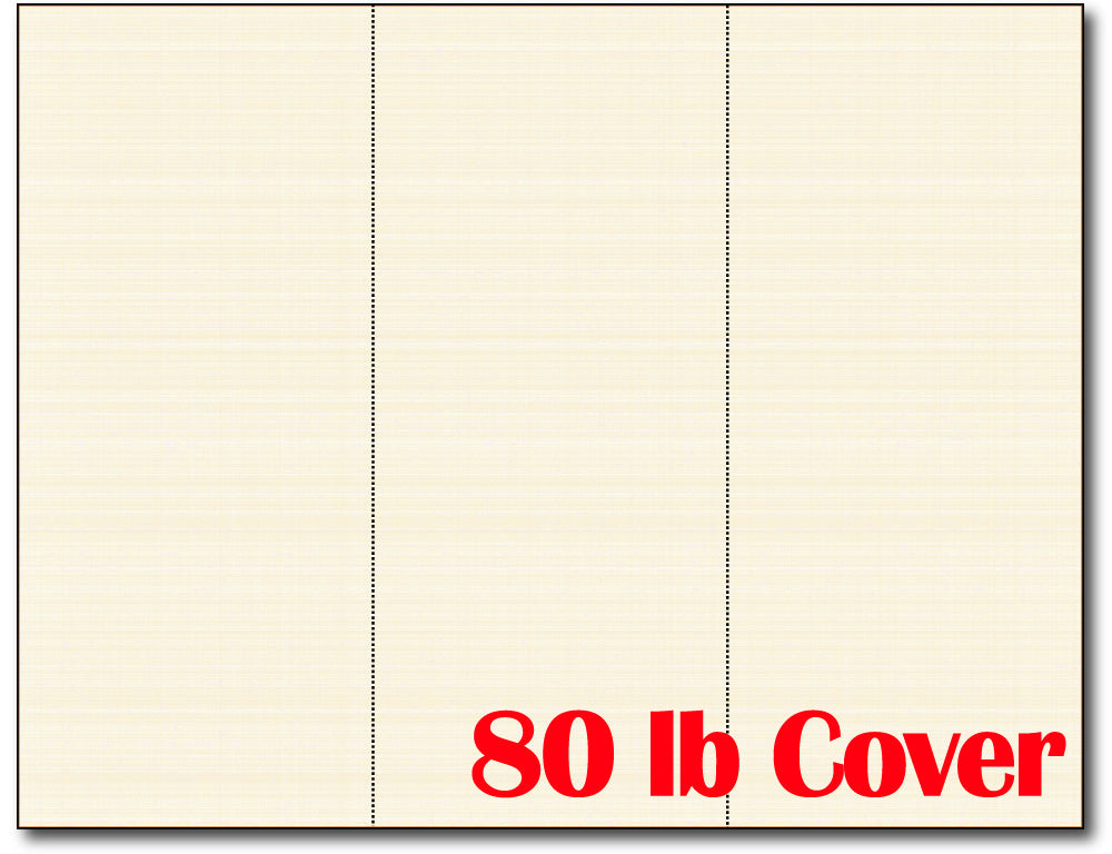 Notecards, 3-up, 8 1/2 x 3 2/3, Cream Linen, 80lb Cover