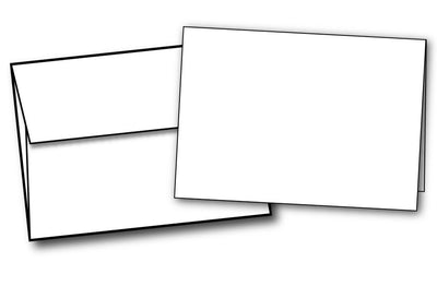 "White Half Fold (4 7/8"" x 3 3/8"") Greeting Cards & Envelopes - 40 Sets, compatible with inkjet and laser"