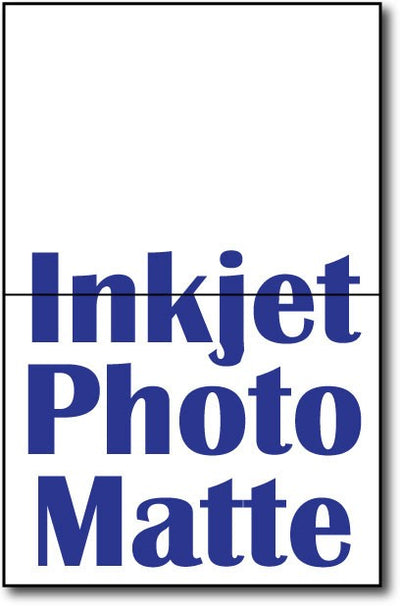 "90lb Inkjet Photomatt Single Invitations on an 8 1/2"" x 5 1/2"" sheet."