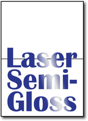 "Double Sided Laser semi-gloss greeting card stock for laser printers & copiers. 7"" x 10"" stock scored to fold to 5"" x 7"""