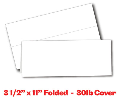 "Table Tent Cards - 80lb Cover / White (3.5"" x 11"")"