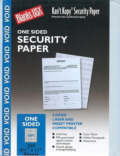 "60 lb Blue Security Prescription paper, measure (8 1/2"" x 11"") , compatible with copier,inkjet and laser , matte both sides"