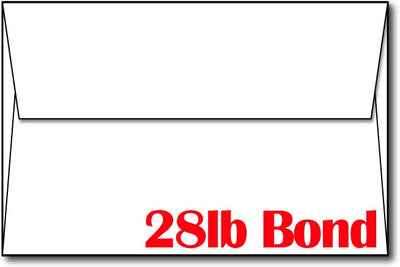 "28lb White, Bond A9 8 3/4"" x 5 3/4"" Envelopes."