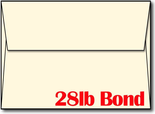 "28lb Cream Linen Envelope, size A7, measure (5 1/4"" x 7 1/4"") , compatible with inkjet and laser, Matte Both sides"