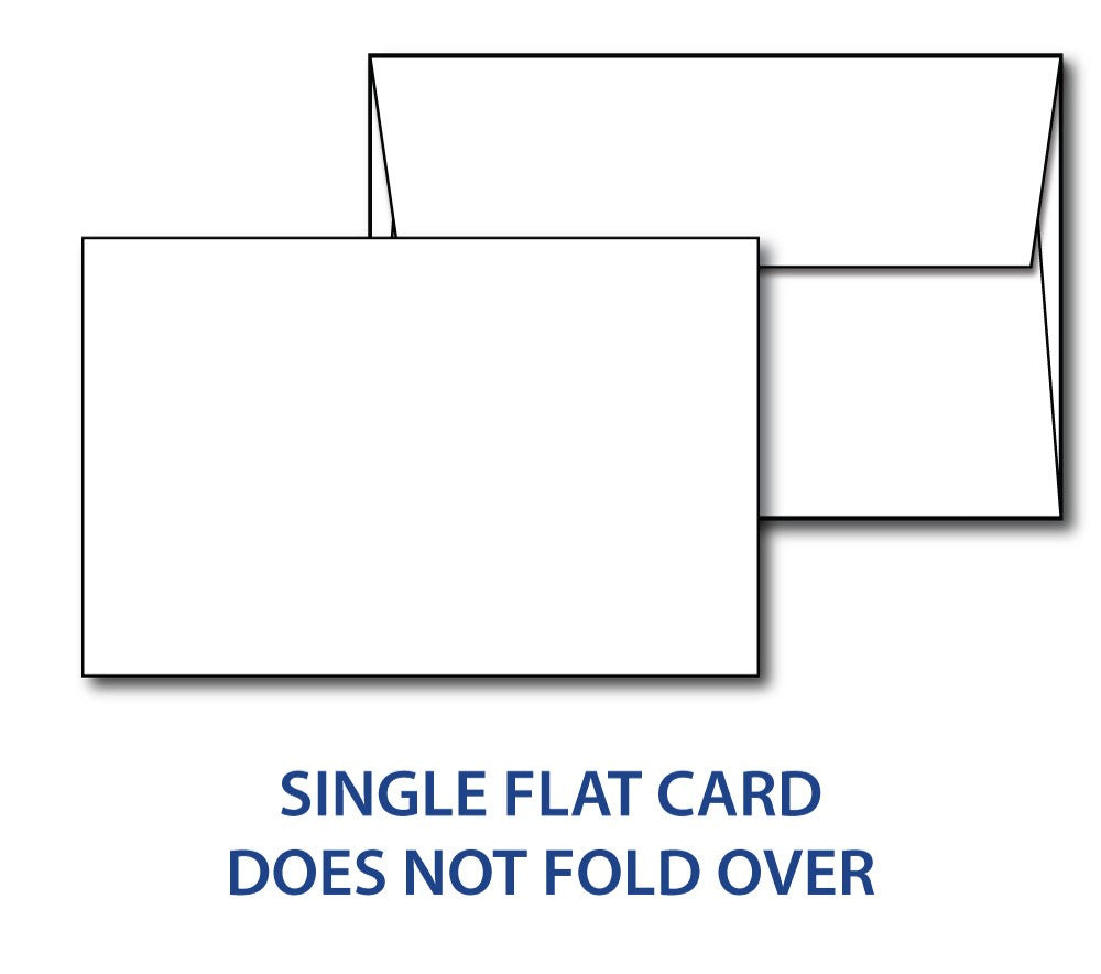 White 80lb Single Flat card 5 1/2 x 8 1/2 & envelopes