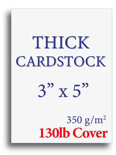 "Blank Thick Cardstock | White | 3"" X 5"" (130lb Cover)"