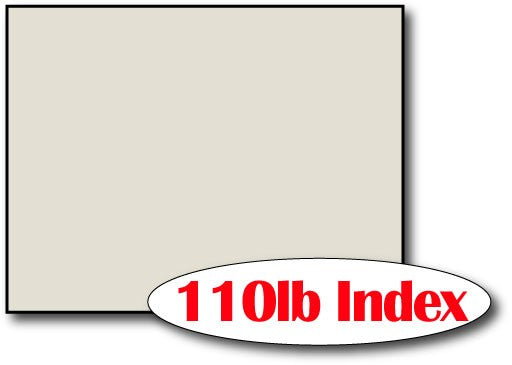"Single Flat Cards, 4 1/4"" x 5 1/2"" 110lb Index Grey - 1000 Flat Cards"