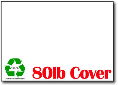 "80lb White 100% Recycled 5"" x 7"" Cards - 500 Flat Cards"