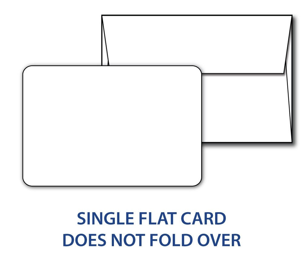 "80lb White 5"" x 7"" Cards with rounded corners & envelopes combo pack"