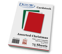 Christmas Cardstock - Red, Green, White - 65lb Cover