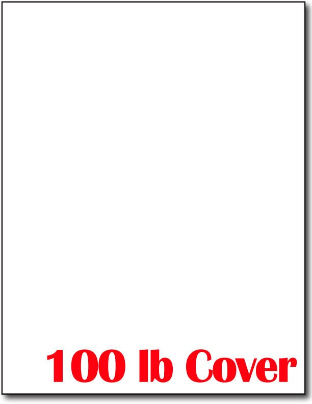 "100 lb Cover White Card Stock, measure (8 1/2"" x 11"") , compatible with copier,inkjet and laser , matte both sides"