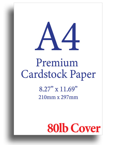 "White A4 Cardstock (8.27"" x 11.69"") - 80lb Cover"