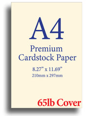 "Cream A4 Cardstock (8.27"" x 11.69"") - 65lb Cover"