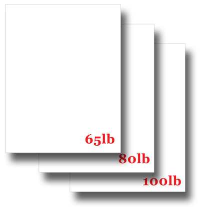 "Assorted White Cardstock - (65lb | 80lb | 100lb) - 8 1/2"" x 11"""