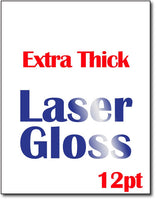 "Extra Thick 12pt Laser Gloss Cardstock - 8 1/2"" x 11"" - Glossy on front & matte on the back"