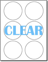 "Adhesive Round Labels Crystal Clear Inkjet CardStock , size A6, measure (3 1/3"" Round) , compatible with Inkjet Only , Full Gloss"