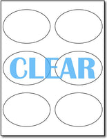 "Adhesive Labels Crystal Clear Laser 6-Up Oval CardStock , size A6, measure (3 7/8"" x 2 3/4"") , compatible with Laser Only , Full Gloss"