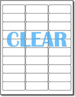 "Adhesive Labels Crystal Clear CardStock , size A6, measure (2 5/8"" x 1"") , compatible with Laser Only , Full Gloss"
