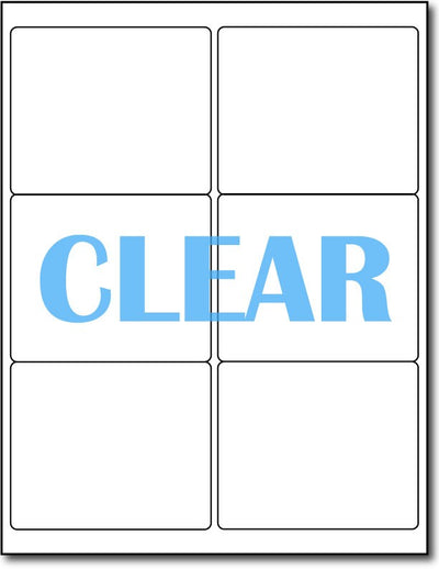 "Adhesive Labels Crystal Clear CardStock , size A6, measure (4"" x 3 1/3"") , compatible with Laser Only , Full Gloss"