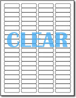 "Adhesive Labels Crystal Clear CardStock , size A6, measure (1/2"" x 1 3/4"") , compatible with Laser Only , Full Gloss"