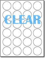 "Adhesive Labels Crystal Clear round,measure (1 5/8"" Round) , compatible with Laser Only , Full Gloss"