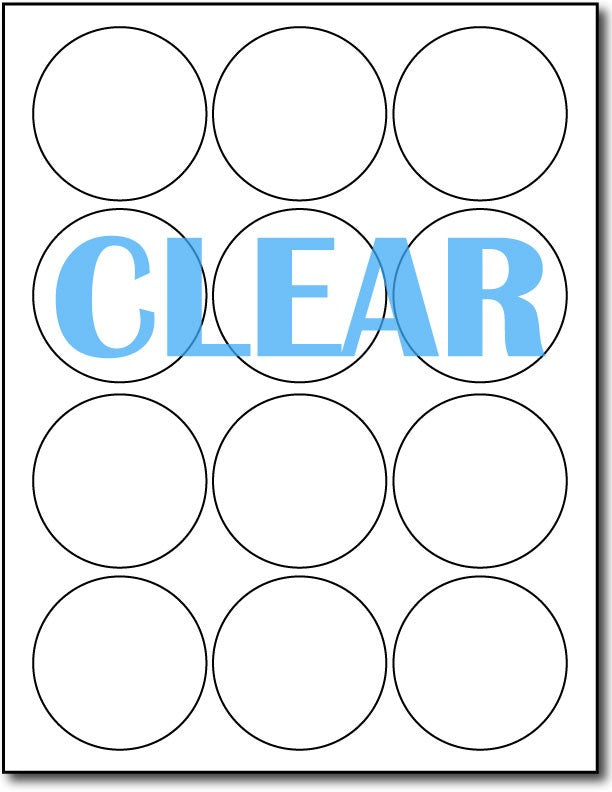 "Adhesive Labels Crystal Clear round CardStock , size A6, measure (2 1/2"" Round) , compatible with Laser Only , Full Gloss"