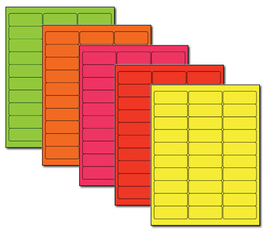 "Address Labels - Fluorescent COMBO - 2 5/8"" x 1"""