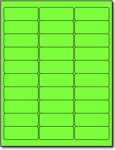 "Adhesive Bright Fluorescent Green Address Labels, measure (2 5/8"" x 1"") , compatible  with inkjet and laser, matte both sides"