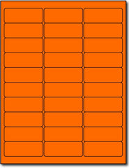 "Adhesive orange Fluorescent Green Address Labels, measure (2 5/8"" x 1"") , compatible  with inkjet and laser, matte both sides"
