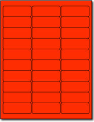 "Fluorescent Labels - 2.625"" x 1"" - Color: Red"