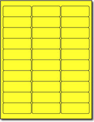 "Adhesive Yellow Fluorescent Green Address Labels, measure (2 5/8"" x 1"") , compatible  with inkjet and laser, matte both sides"