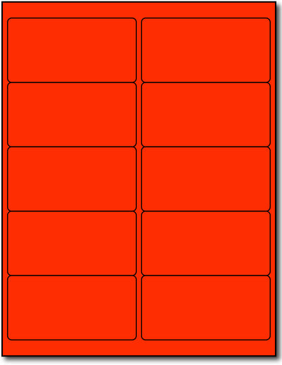 "Fluorescent Labels - 4"" x 2"" - Color: Red"