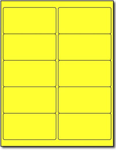 "Adhesive Yellow Fluorescent Address Labels, measure (4"" x 2"") , compatible  with inkjet and laser, matte both sides"