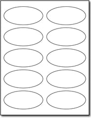 "Adhesive Labels white Oval, size A6, measure (3 7/8"" x 2 3/4"" Oval) , compatible with inkjet and laser , Matte Both Sides"