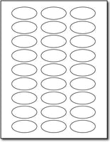 "Adhesive 27-Up Oval Labels, measure (2"" x 1"" Oval) , compatible with inkjet and laser, matte both sides"