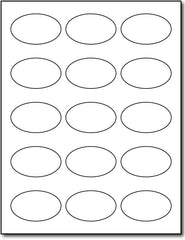 "Adhesive  Labels Laser , size A6, measure (1 7/16"" x 2 3/8"" Oval) , compatible  laser  , Full Gloss"