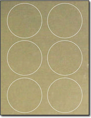 "Adhesive  Labels Gold Foil, size A6, measure (3 1/3"" Round) , compatible  Laser, Foil"
