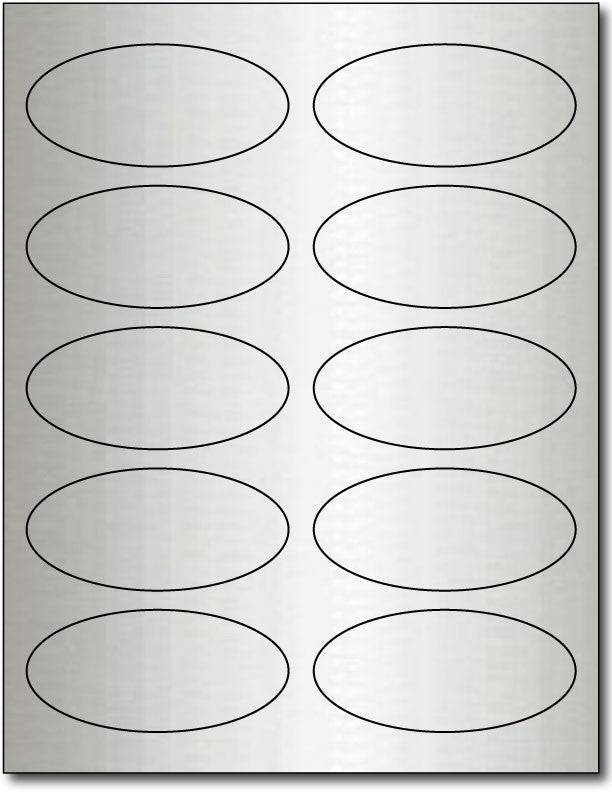 "Adhesive  Labels Oval Inkjet Silver Foil, size A6, measure (3 7/8"" x 2 3/4"") , compatible  with Inkjet, Foil"