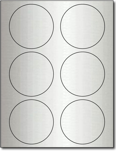 "80 lb  Labels 2 Round Inkjet Silver Foil, size A6, measure (2 1/2"" Round) , compatible  with Inkjet, Foil"
