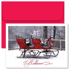 Believe Sleigh Holiday Cards & Envelopes