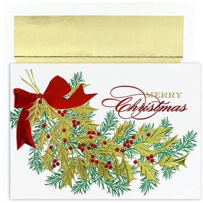 Christmas Holly Boxed Hliday Cards - 16 Cards & Envelopes
