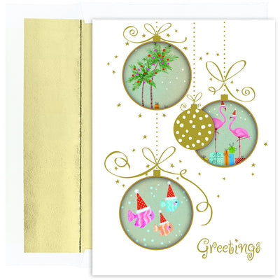 Tropical Ornaments Boxed Hliday Cards - 18 Cards & Envelopes