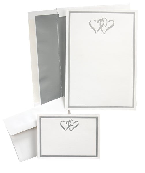Silver Double Hearts, compatible with inkjet and laser, matte both sides