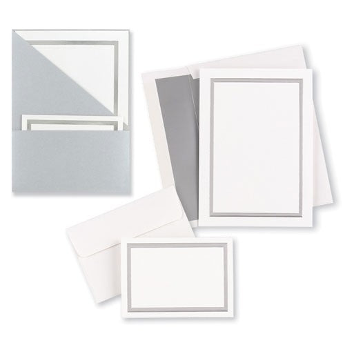 Silver Folder Invitation & note Card Kit - Makes 25 Sets