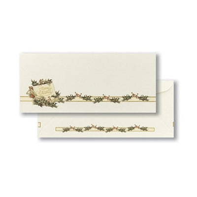 "Vintage Christmas Holly Christmas Envelope, measure(5.5 x 8.5""), compatible with inkjet and laser, matte both sides"
