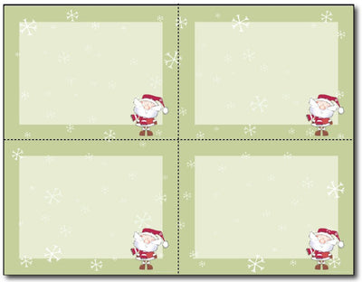 "110lb Merry Christmas Santa 4-up Postcards,  measure(4 1/4"" x 5 1/2""), compatible with inkjet and laser"