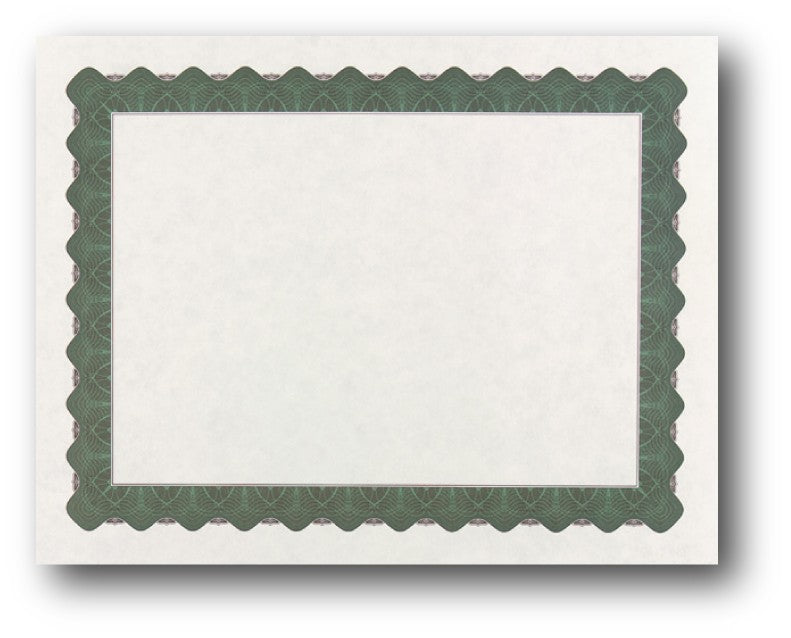 "24lb Green Parchment Certificate ,  measure (8 1/2"" x 11"") , compatible with inkjet and laser"