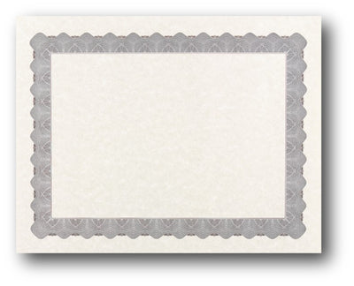 "24lb Silver Parchment Certificate , measure (8 1/2"" x 11"") , compatible with inkjet and laser"