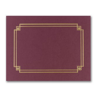 "80lb Burgundy Linen Gold Foil Certificate Cover, measure (8 1/2"" x 11"")"