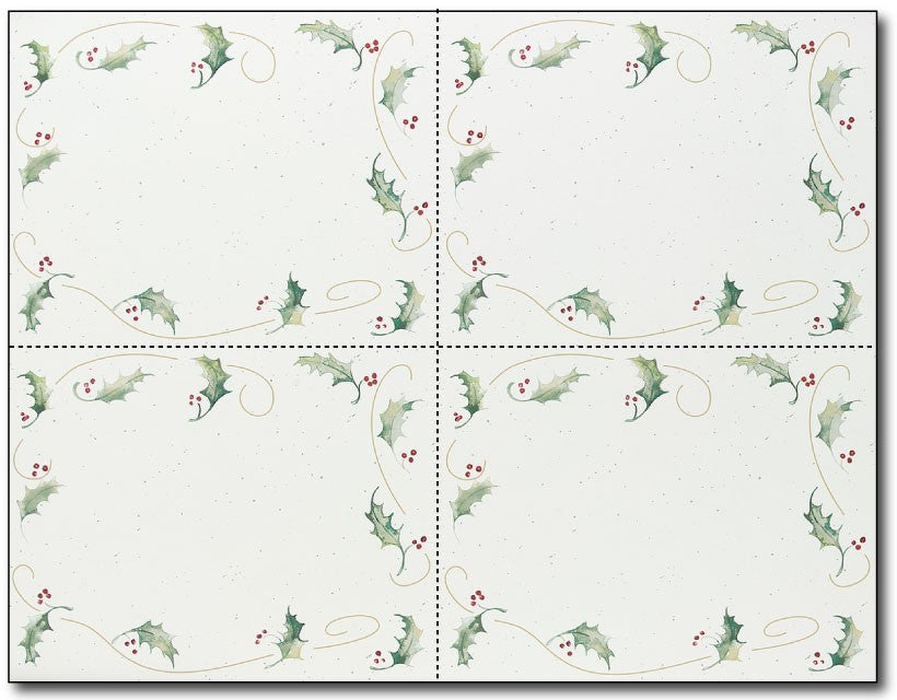 "110lb Holly Bunch Holiday Postcards Sheets, measure (8 1/2"" x 11"") , compatible with inkjet and laser"
